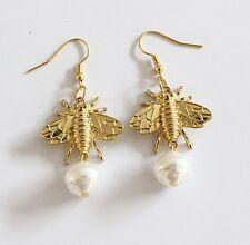 E1007 Betsey Johnson Gold Honey Bumble Bee Queen w/ Pearl Hoop Earrings  US