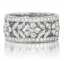 Cocktail Party Band Solid 925 Sterling Silver Flower Leaf Round Wedding Jewelry