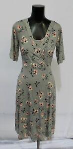 Latched Mama Women's Maternity S/S Floral Midi Nursing Dress RH7 Grey Small NWT