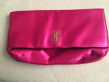 Juicy Couture Pink Satin Clutch Purse with Striped Lining