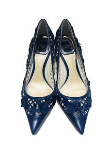 DIOR Floral Day Blue Appliqué Leather Flower Perforated Heels Shoes