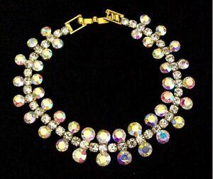 Gold AB Crystal Diamante Bracelet Women Wedding Bridal Dress Jewellery Jewelry