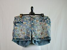 Forever 21 Denim Cuffed Floral Print Five Pocket Shorts - Size 18