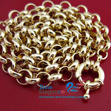 9ct  yellow gold GF ladies solid belcher chain bolt ring calsp long Necklace