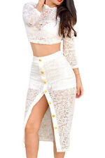 White Sheer Lace Crop Top Midi Split Party Skirt Set Medium