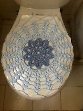 Handmade Crochet Round Toilet Lid/Seat Cover Light Blue #7