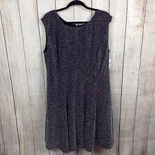 Simply Emma 18W Plus Women's Dress Sleeveless A-Line Glitter Knit Black Silver