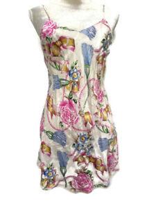 Victoria's Secret Gold Label Floral Slip Nightie Nightgown 100% Silk Sz P (S)
