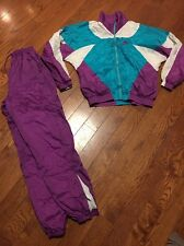 Vtg Womens Nike Purple Green Track Jump Suit Windbreaker Set Size Small
