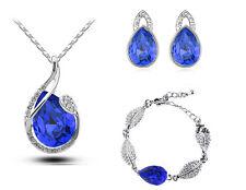 Parure de bijoux bleu roi foncé cristal boucles d'oreilles, bracelet et collier