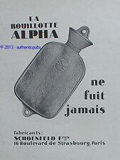 PUBLICITE LA BOUILLOTE ALPHA NE FUIT JAMAIS DE 1927 FRENCH AD ADVERT PUB