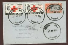 BAHAMAS PIRATES WELL 1964 EXTERNAL..Missing S..RED CROSS + 2 x 1/2d WHITLEY BAY