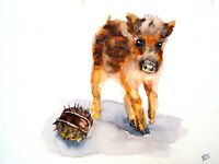 Original Watercolor Painting Art Wild Pig Chestnut Animal Food Home Decor Gift