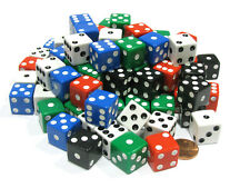 Set of 100 Six Sided Square Opaque 16mm D6 Dice - Red White Blue Green Black