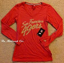 Nike Women's NFL SF 49ers V-Neck Shirt Red Gold XS Fan Spirit Top Gym Casual New