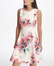 $129 NWT DKNY sz 12 Cream Multi Sleeveless Floral Print Scuba Fit & Flare Dress