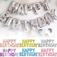Happy Birthday Balloons Banner Bunting Letters Foil Balloon Party Self Inflating