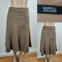 Women MARKS & SPENCER Skirt Size 14 New Wool & Cashmere Fawn Colour Flare Immacu