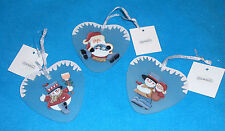 Set of 3 THT Designs Heart Shaped Hand Painted Glass Ornaments - NEW w/Tags