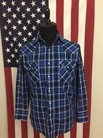 Plains Western Wear Blue Plaid Pearl Snap Western Shirt men's SMALL rodeo 1a642
