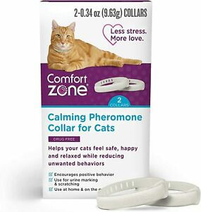 NEW Comfort Zone 2 Pack Cat Calming Pheromone Collar for Cats De-Stress Your Cat