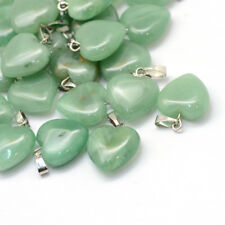Natural Green Aventurine Crystal Heart Gemstone Pendant 18mm UK