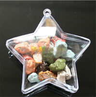 5Pcs Christmas Tree Wedding Ornament Transparent Clear Plastic Bauble Candy Box