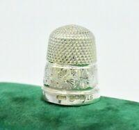 Antique 1916 Sterling silver Thimble Size 16 Art Deco Diamond cut design #W3