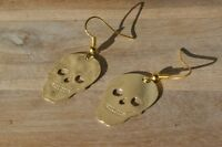 Skull charm earrings, gold or silver color, Halloween costume, halloween skull