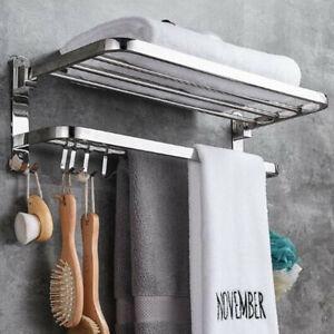 304 Stainless Steel Foldable Towel Rack Bar Wall Mounted Holder Bathroom Shelf