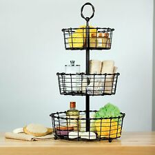 Giftburg 3 Tier Woven Rustin Wrought Iron Wire Basket with Top Handle MLGY16003