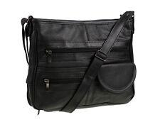 Ladies Real Leather Womens Travel Organiser Handbag Shoulder Bag 3771 Black