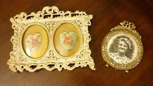 2 Antique Gilt / Brass Picture Frames French Shabby Chic Style