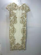 TADASHI SHOJI LEAF LACE COCKTAIL DRESS Ivory Size 8