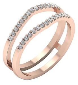 Double Wedding Ring SI1 G 0.30 Carat Round Cut Diamond 14K Solid Gold 7.30MM