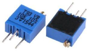 Vishay TOP ADJUST TRIMMER POTENTIOMETERS 9.7x2.2mm 50Pcs 10kΩ 0.5W 21/23-Turns