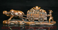 """9.2 """"Chine Buis Bois Feng Shui Kid Ox dessiné chariot Yuanbao Richesse Statue"""