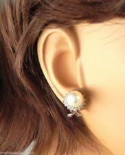 Exquisite 14k White Gold Cultured Pearl & Diamond Earrings