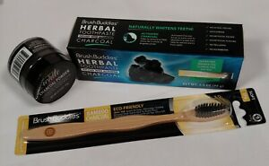 Brush Buddies Herbal Charcoal Toothpaste with Toothbrush and Charcoal Powder