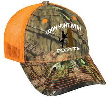 Cap Hat Camo Orange Mesh Raccoon Coonhound Coon Hunt Hunter Hound Dog Plott