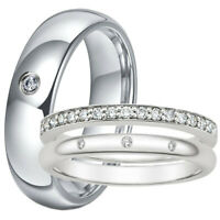 His Hers Wedding Anniversary Titanium Stainless Steel Match Couple Ring Band Set