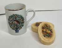 Vintage Avon Partridge in a Pear Tree Cup Gold Rim & 2 Bar of Soaps w/Pears