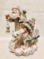 Christmas Santa Figurine Walking w/Bear Wood Carved Look Pale White/Green 8""