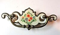 """Drop Bail P1910 97 Drawer Pull Handle 3"""" Centers Floral White on Brass 1 Antique"""