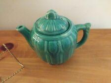 Shawnee Drape Pottery Tea Pot Circa 1940's Teal Color w/slight iridescent glaze