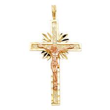 Crucifix Cross Jesus Charm Pendant Chain 14k 2 Tone Gold Religious Diamond Cut