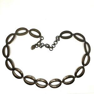"""Fossil Metal Chain Belt Stamped Metal Conchos Hobo Chain Link Hip Women's 42"""""""