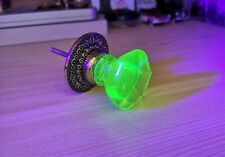 1 ANTIQUE Drawer KNOB  - URANIUM  GREEN Glass -  Pulls Handles  37  40 mm