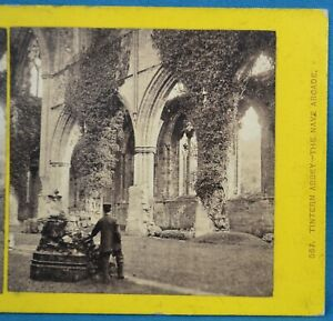 1860s Stereoview Photo Monmouthshire Tintern Abbey The Nave Francis Bedford