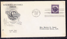 """USA """"Artcraft"""" 1946 Honorable Discharge  First Day Cover Addressed"""